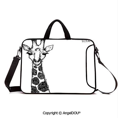- AngelDOU Laptop Shoulder Bag Waterproof Neoprene Computer Case Cute Graphic of Safari Giraffe Tall Neck Spots West African Wild Character with Handle Adjustable Shoulder Strap and External Side Pock