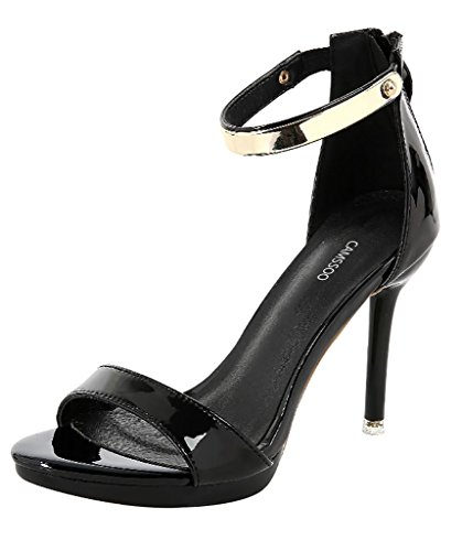 Womens Sexy Back Zipper Open Toe Ankle Strap High Heel Dress Wedding Party Sandals Black Patent PU g22c0UD