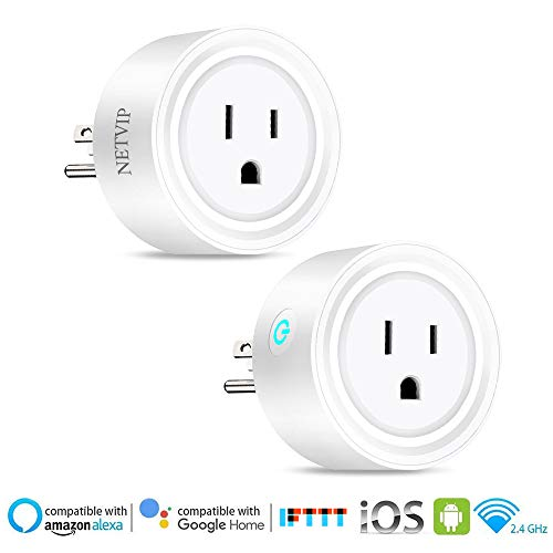Smart WiFi Plug Outlet Compatible with Alexa and Google Home & IFTTT, Remote Control Your Home Appliances from Anywhere, Voice Control and Timer Function Wireless Socket, No Hub Required 2 Pack