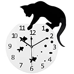Timelike Fishbowl Cat Clock/Creative Wall Clocks/Home DIY Decoration Watch/Cat on Clock Living Room Mirror 3D Wall Design