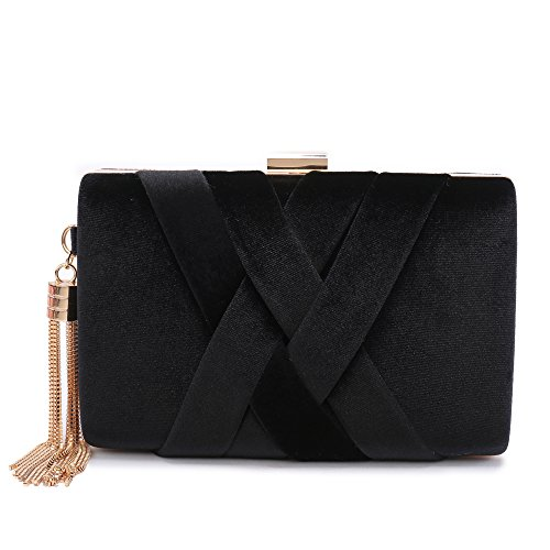 Women's Evening Clutch Bag Stain Fabric Bridal Purse For Wedding Prom Night Out Party Black by Minicastle