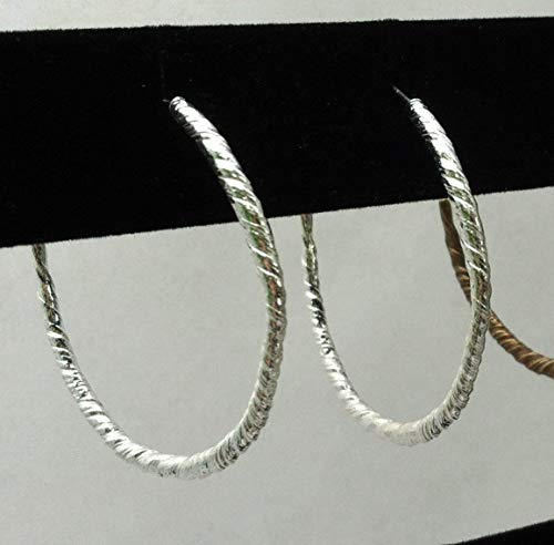 (Botanically Inspired Sterling Silver Large Twist Hoops)