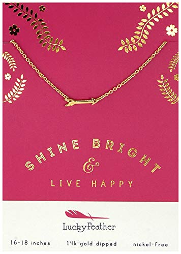 Lucky Feather Inspirational Live Happy Shine Bright 14K Gold Dipped Arrow Charm Necklace for -