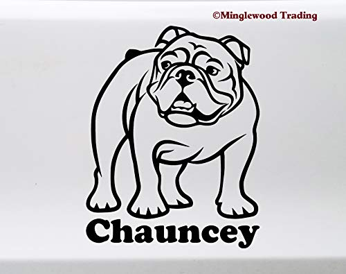 Minglewood Trading English Bulldog with Personalized Name Vinyl Sticker Dog Puppy V3 Die Cut Decal 4.5w x 6h inches - Black (Olde English Bulldogs)