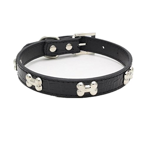 Haoricu Pet Collar, Small Dog Collars Bling Crystal With Bone Necklace Puppy Cat (L, Black 1) Bling Bones Leather Crystal