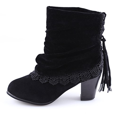 UNKE Women's Fashion Casual Lace Fringed Potinted Toe Cuff Tassel Chunky Stacked Mid Heel Ankle Booties£¬ Black, US7.5 ()
