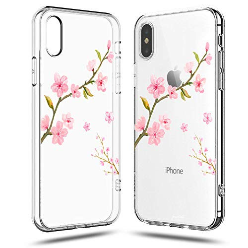 iPhone XR Floral Case,Sakura Flowers Girly Pink Cute Cherry Blossom Rose Florals Peach Classy Love Japanese Collection Exotic Clear Protective Spring Case for Girls Compatible for iPhone XR