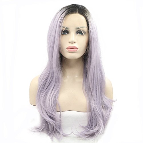 Pastel Purple Wig Ombre Dark Roots Two Tone Natural Wave Heat Resistant Synthetic Lace Front Wigs for Drag Queen Natural Hairline Women Girls Cosplay Replacement Synthetic Wig Middle Part 22inches ()