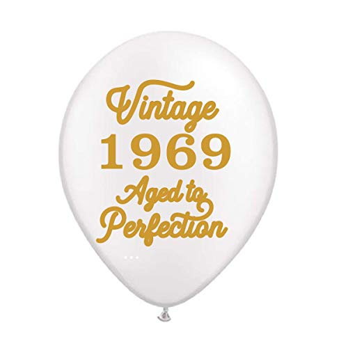 Vintage 1969 White Balloons - 50th Birthday Balloons - Set of 3