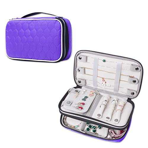 LUXJA Quilted Travel Jewelry Organizer, Double Layer Jewelry Storage Carrying Case, Purple