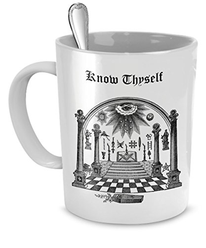 Masonic coffee mug - Freemason Know Thyself cup - Freemason gift (Freemason Coffee Cup compare prices)