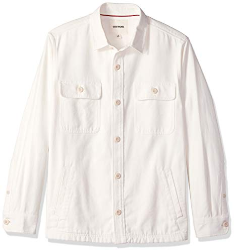 Goodthreads Men's Military Broken Twill Shirt Jacket, -ivory, -