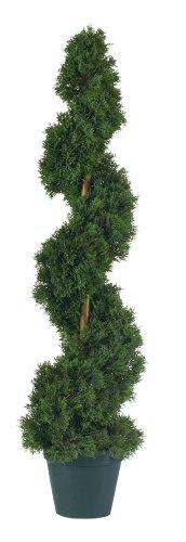 Nearly Natural 5161 Cedar Spiral Silk Tree Indoor/Outdoor, 3-Feet, Green