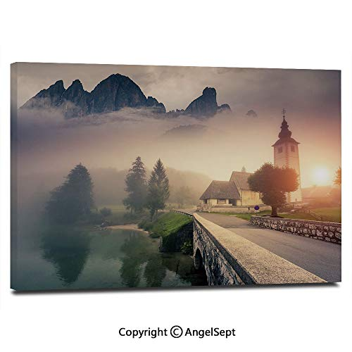 Wall Art Decor High Definition Majestic Foggy Morning Scene Triglav National Park Mountain Valley Dramatic View Decorative Painting Home Decoration Living Room Bedroom Background,16