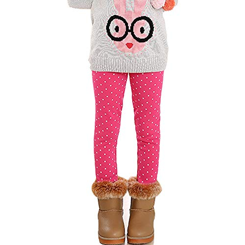 Girls Warm Winter Fleece Lined Leggings Dot Pattern Tight Stretch Pants (Pink, 6Y-7Y)