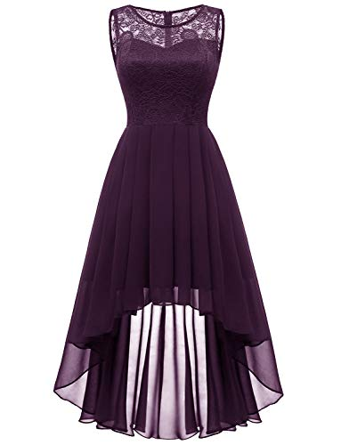 Dressystar 0038 Sleeveless Hi-Lo Lace Bridesmaid Dress Formal Prom Dress XL Grape