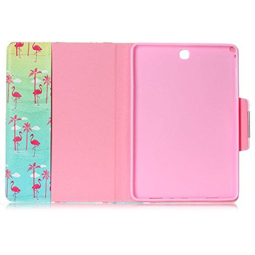 Ukayfe Flip funda de cuero PU para Samsung Galaxy Tab A 9.7 T550, Leather Wallet Case Cover Skin Shell Carcasa Funda para Samsung Galaxy Tab A 9.7 T550 con Pintado Patrón Diseño, Cubierta de la caja F flamencos de manglar