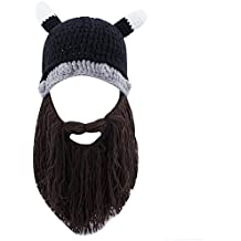 FREE FISHER Unisex Knitted Viking Beanie Funny Hat With Detachable Beard