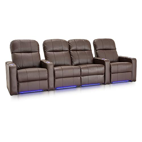 Seatcraft Venetian Home Theater Seating Manual Recline Bonded Leather with Hidden In-Arm Storage, Swivel Tray Tables, USB Charging, Lighted Cup Holders and Base, Row of 4 with Middle Loveseat, Brown