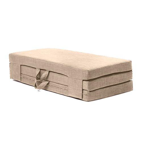 Fun!ture Double Sand 4ft Wide Portable Foam Folding Mattress Carry Handles in Linen Effect Upholstery Fabric. Guest Mattress folds away storage.