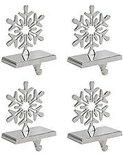 Iconikal Snowflake Stocking Holder, Chrome, 4-Pack