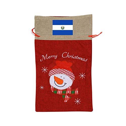 ONE SUIT Flag of El Salvador Christmas Craft Bags Santa Present Drawstring Bag Santa Sack Holiday Large Gift Bags