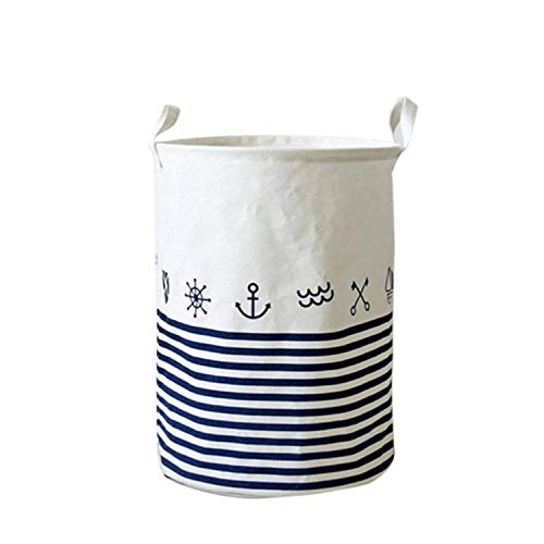 (New Waterproof Cotton Linen Foldable Laundry Basket Dirty Clothing Storage Box Kids Toy Organizer Tool Storage Organizer,Blue Stripes)