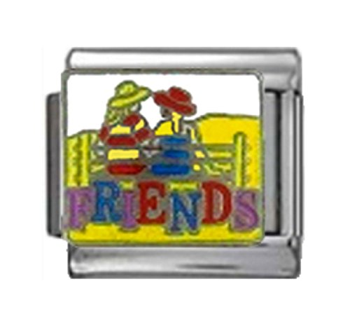 FRIENDS CHATTING Enamel Italian Charm 9mm Link - 1 x FA191 Single Bracelet Link - Friends 9mm Italian Charm