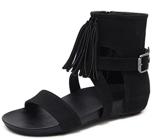 KUKI Roman Open-End-Fransen Damenschuhe mit einer flachen Schnalle High Fashion wilde weibliche Sandalen 2