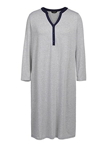 Aimado Women Maxi Pajama Dress V Neck Long Sleeve Patchwork Nightgown Loose Sleepwear(Light Grey,5X-Large)