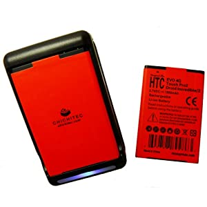 CHICHITEC Sprint HTC EVO 4G 2x1900 mAh Battery Slim Design Longer life than OEM+Wall Travel Dock USB Charger also for EVO Shift 4G,Verizon Droid Incredible 2, Touch Pro2, myTouch Slide, Google DesireZ, G2 by CHICHITEC ONLY BEWARE KNOCKOFF