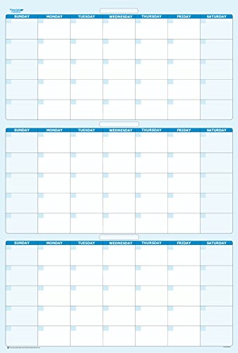 90-Day Quarterly Dry and Wet Erasable Calendars by PlanetSafe Calendars. Best in It's Class. Non-ghosting, Non Staining (Vertical 48