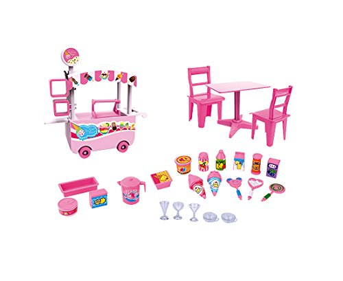 PlayMarket Plastic Mini Ice Cream Cart Pretend Play Toy Playset, 27 Pieces