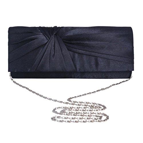 Wedding Bag Formal Clutch Evening Bag Adoptfade Satin Black Pleated Womens Retro qR58CExw