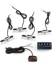 Auto koplampen - 16W 4-in-1 16 LED Stroboscooplichten Bumper Grille Waarschuwingslampje met Controller Modus Schakelaar Energiebesparing en lange levensduur