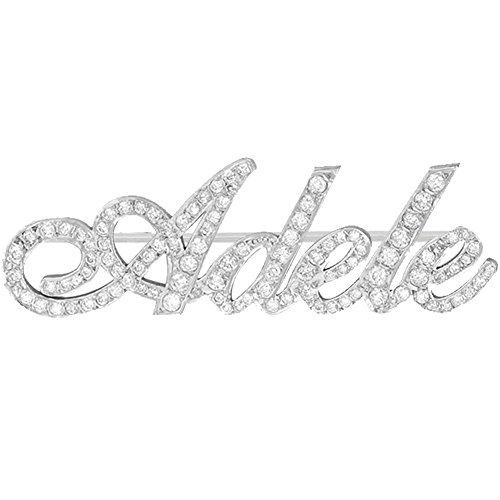 Ouslier 925 Sterling Silver Personalized Fully Crystal Stone Brooch Pin Custom Made with Any Names (Silver)