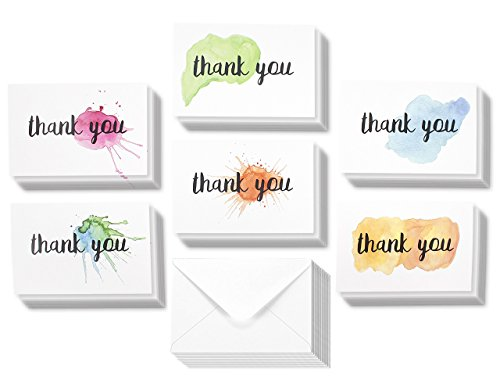 Thank You Cards - 48-Count Thank You Notes, Bulk Thank You Cards Set - Blank on the Inside, 6 Watercolor Splash Designs – Includes Thank You Cards and Envelopes, 4 (Blank Splash)