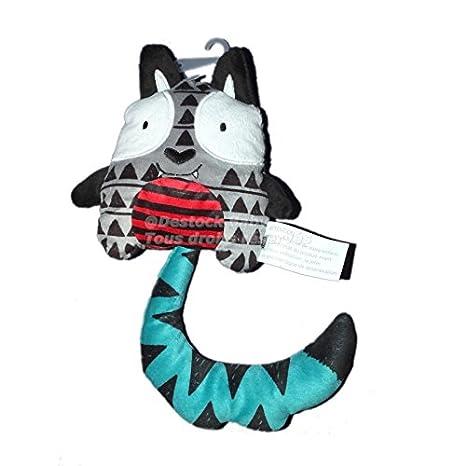 Doudou chat gris bleu rouge La Halle! 17 cm: Amazon.es: Bebé
