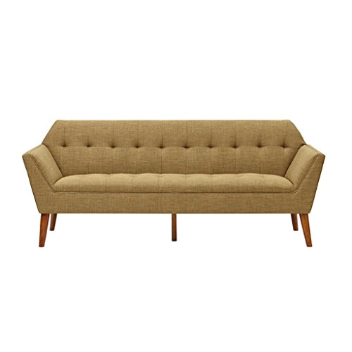 Mid Century Modern Light Brown Upholstery Button Tufted Sofa with Dowel Wood Legs