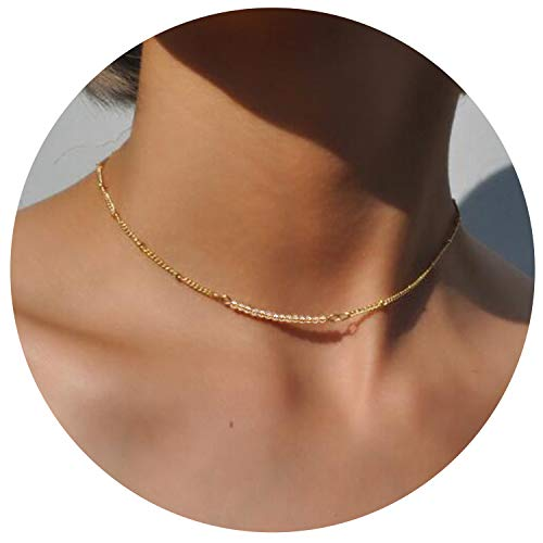 So Pretty Dainty Bead Choker Necklace for Women Gold Beaded Chain Layering Necklace -