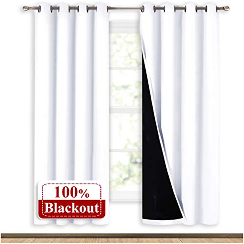NICETOWN 100% Blackout Window Curtain Panels, Full Light Blocking Drapes with Black Liner for Nursery, 72-inch Drop Thermal Insulated Draperies (White, 2 Pieces, 52-inch Wide Per Panel) (Curtains Blackout White 72)
