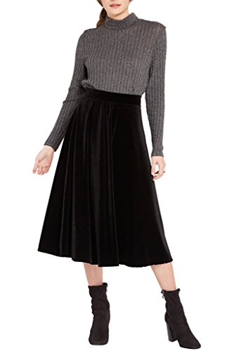 Womens Velvet Flare Midi Skirt USA BK L