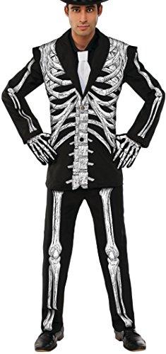 Mr Fantastic Standard Costumes (Men's Day Of The Dead Skeleton Mr. Bones Gentleman Tuxedo Costume Large 42-46)