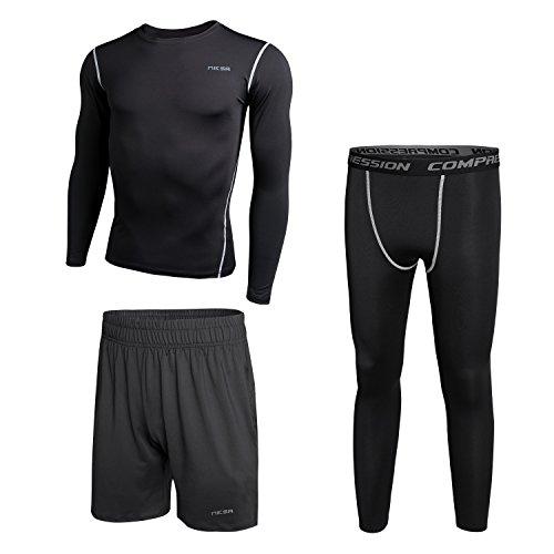Niksa Men's Compression Top Baselayer Long Sleeve Shirt Shorts Pants Leggings Cool Dry Skin Fit 3 Pieces Set - Shorts Skins Mens