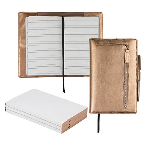 (Samsill Notebook Portfolio Bundle - Business Portfolio for Women, Notebook Holder with Zipper Accessory Pocket, Includes 3 5x8 Notepad Refills, Rose Gold)