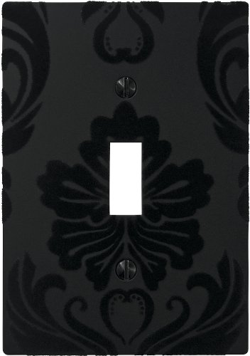 AmerTac 40TBK 1 Toggle Velvet Flocked Damask Wallplate, Black