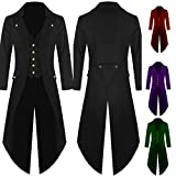 Digital baby Gentlemen Men's Coat Fashion Steampunk Vintage Tailcoat Jacket Gothic Victorian Frock Coat Men's Uniform Costume(Black,L)