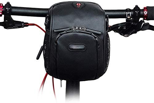 サイクリングサドルバッグ、自転車のフロントフレームバッグ3L小型自転車のハンドルバー収納袋付きヘッドフォン穴は防水サンシェードタッチスクリーン収納袋 (Color : Black, Size : 3L)