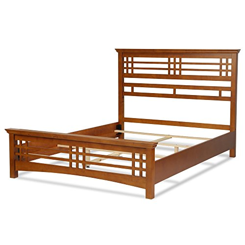 Avery Complete Bed with Wood Frame and Mission Style Design, Oak Finish, Full Oak Wooden Beds