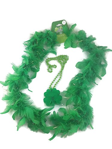 St. Patricks Day Costume Accessories Bundle. 2 Items; 1 4 Ft. Green Feather Boa, 1 Light Up Green Shamrock Beaded Necklace ()